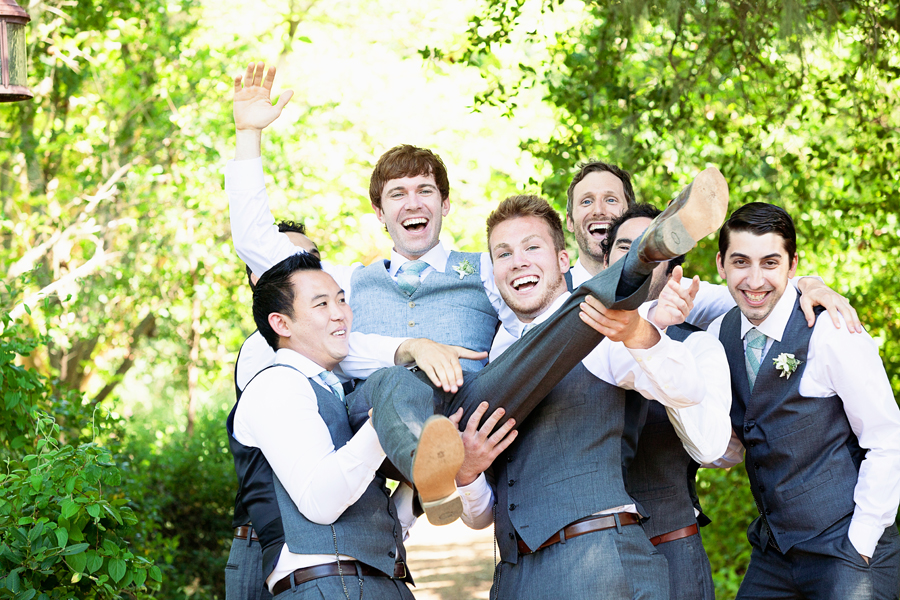 Groom and Groomsmen at outdoor wedding