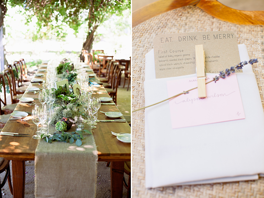 Private estate wedding photography. Wedding at Campovida. Farmstyle dinner wedding photos