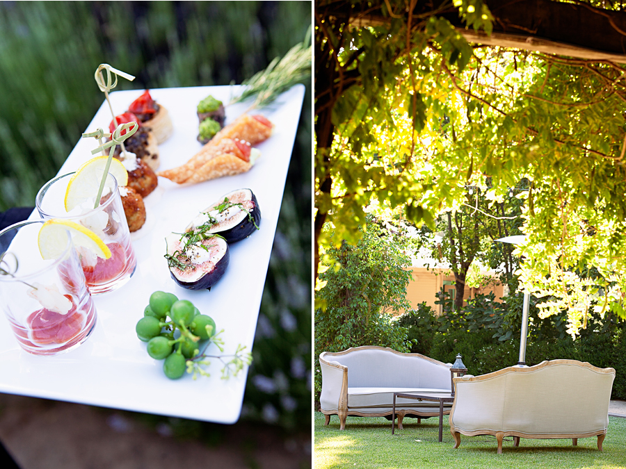 appetizers and outdoor lounge at garden wedding