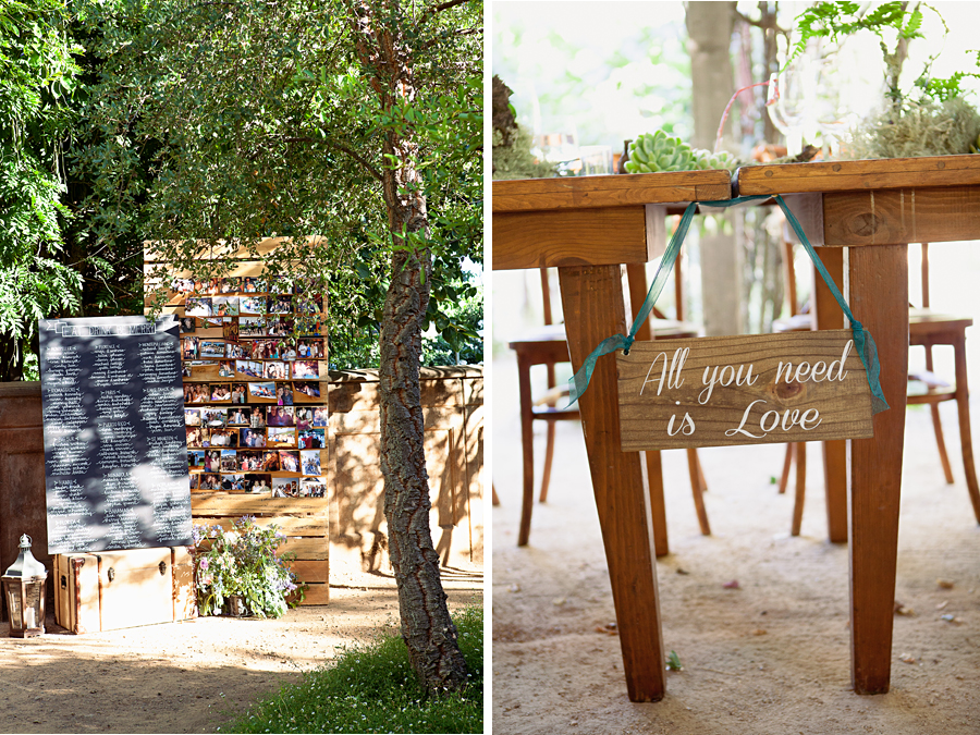 farm tables and succulent decor at outdoor garden wedding