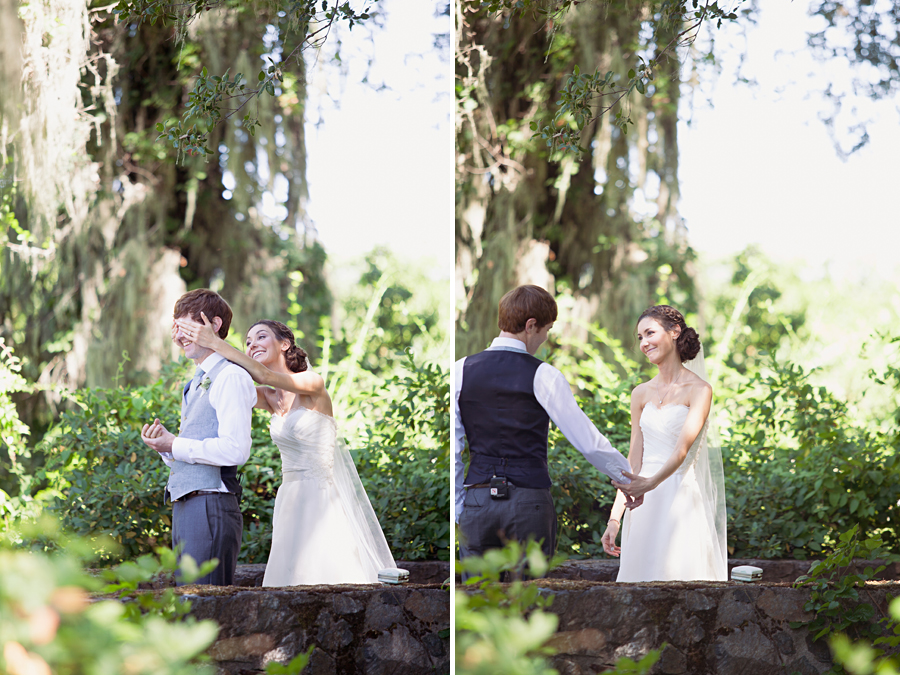 First look surprise at outdoor garden wedding