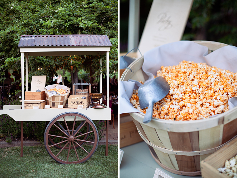 Popcorn station at outdoor wedding