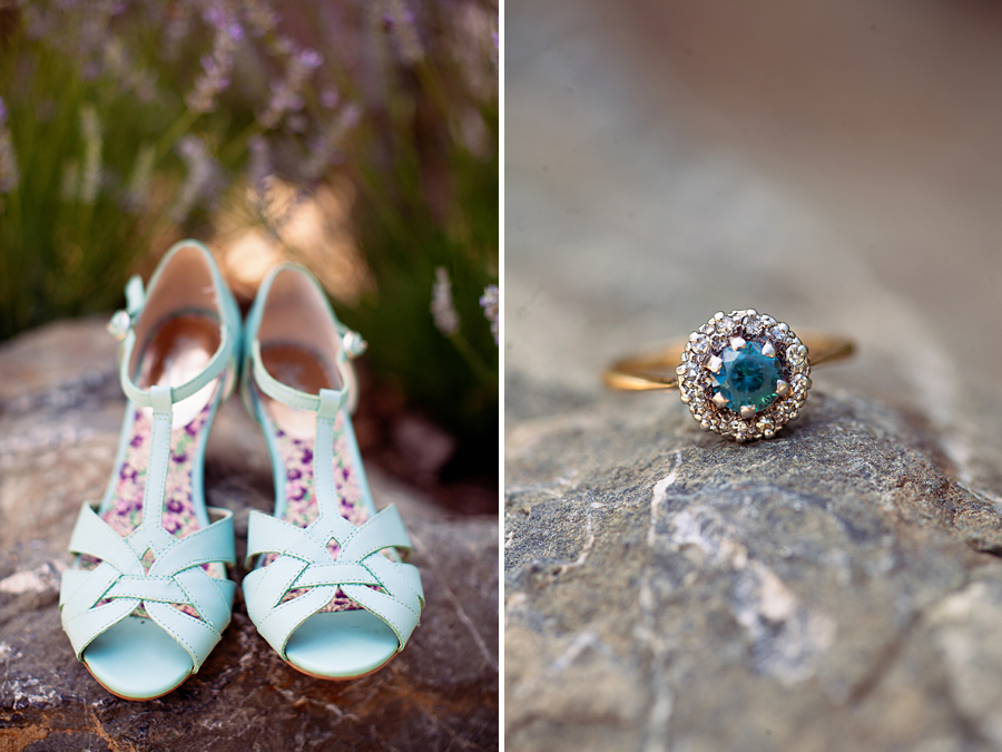Shoes and sapphire ring at outdoor wedding