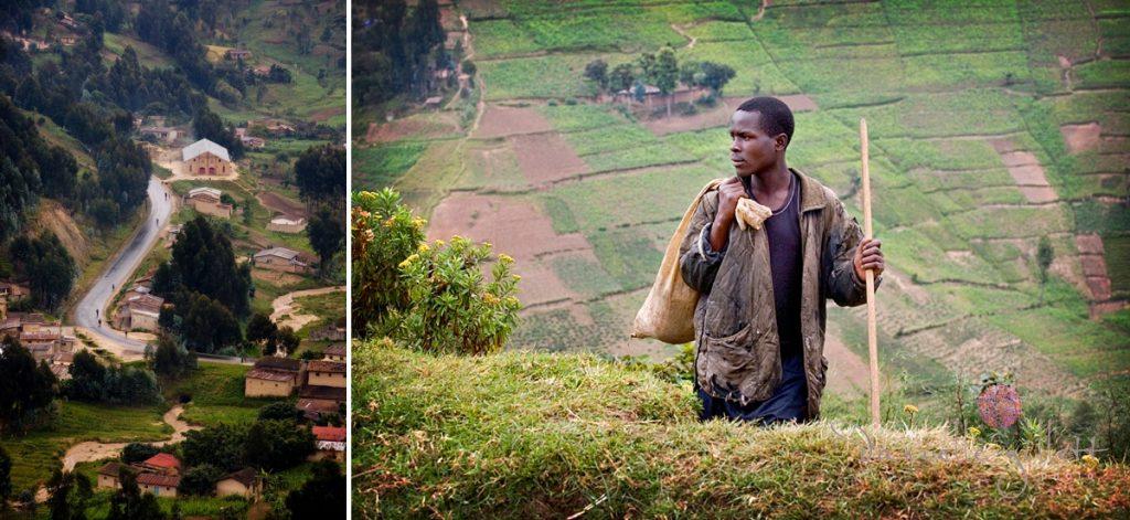 African Farmer in countryside. Rwandan on Bike. Picture for Project Rwanda Charity