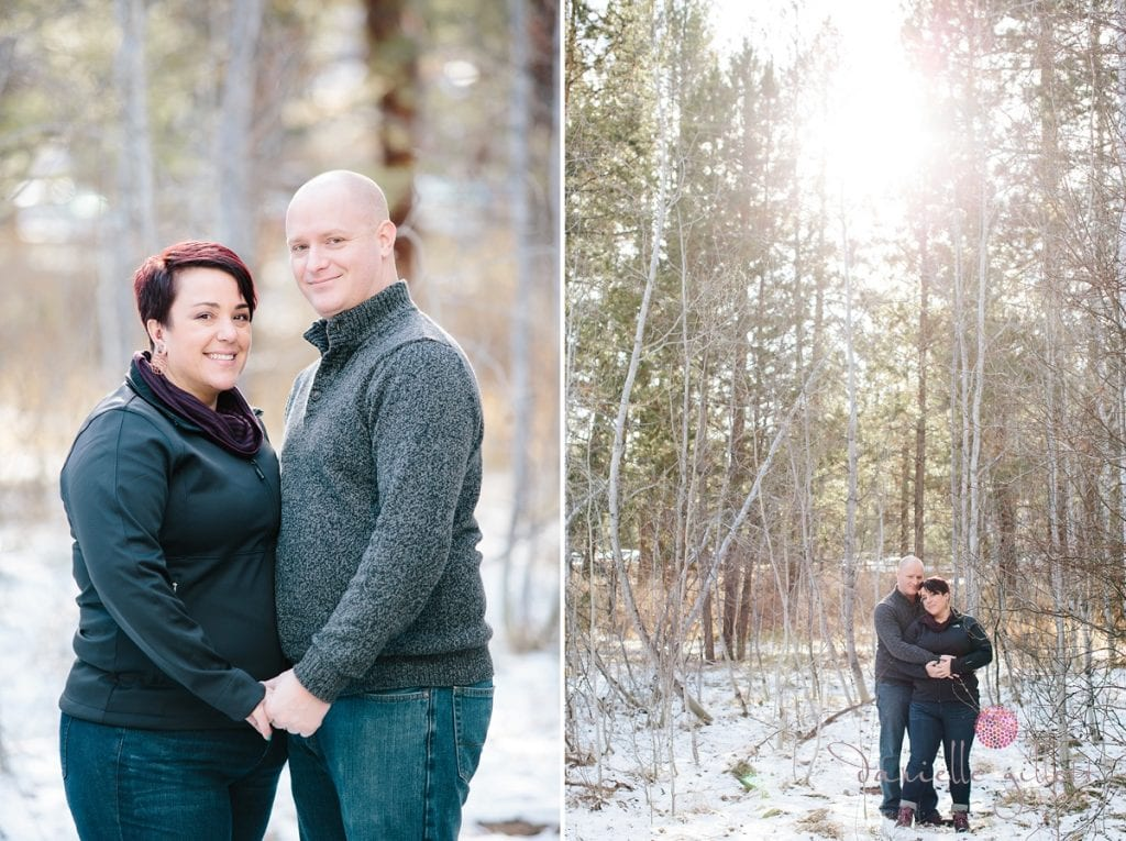 Sunkissed couple in the snow in Bend Oregon engagement photos