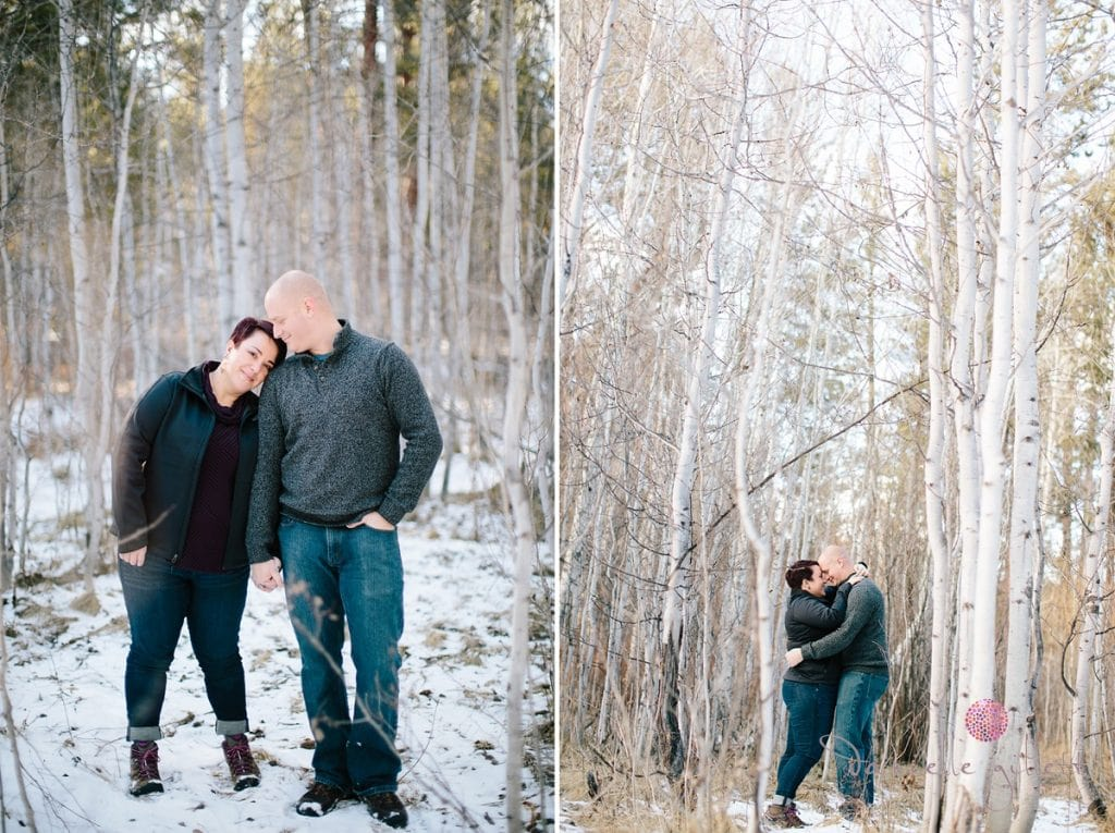 Couple cuddling in aspen trees in Bend Oregon engagement photos