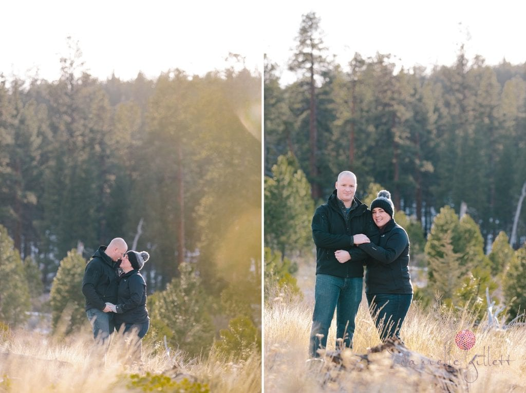 Shevlin Park photos of engagment couple in Bend Oregon engagement photos