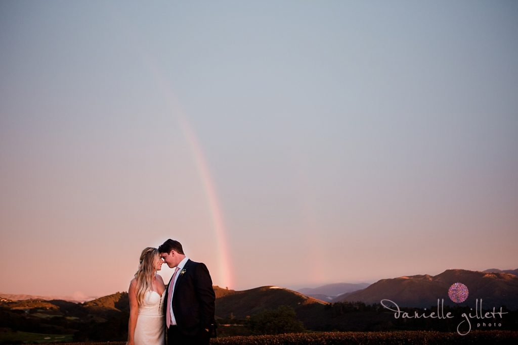Bride and Groom with rainbow at Tehama Golf Club