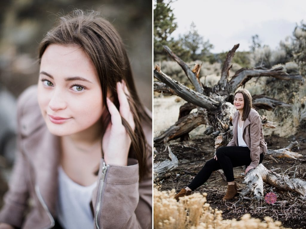 senior picture in Bend Oregon of girl in desert