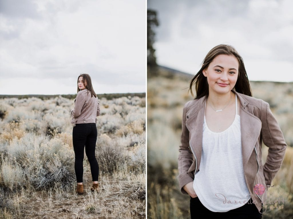 dessert model for senior photoshoot in Bend Oregon.