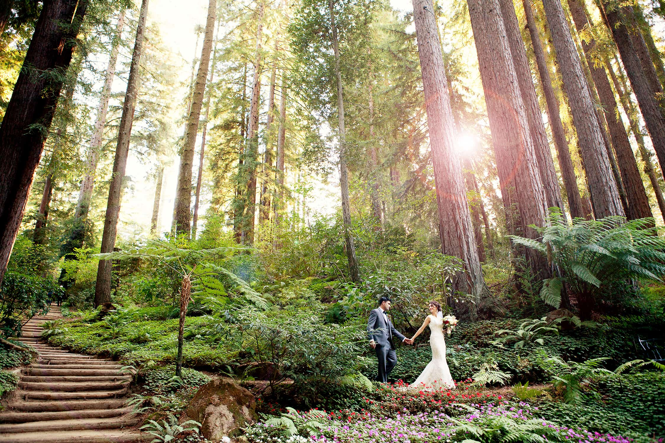 Bride and Groom walking though redwoods at outdoor wedding at Nestldown