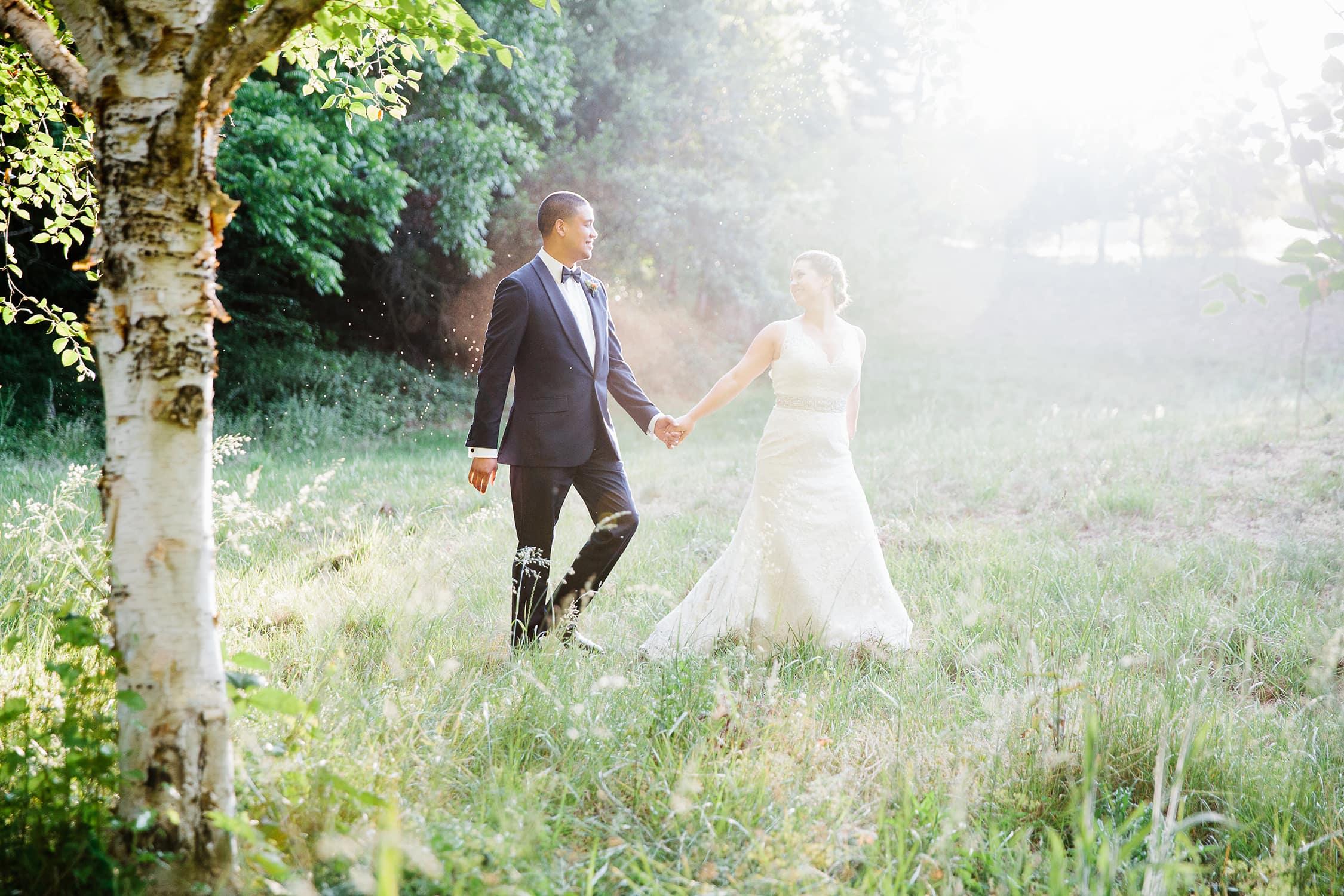 Bride and Groom walking at Nestldown