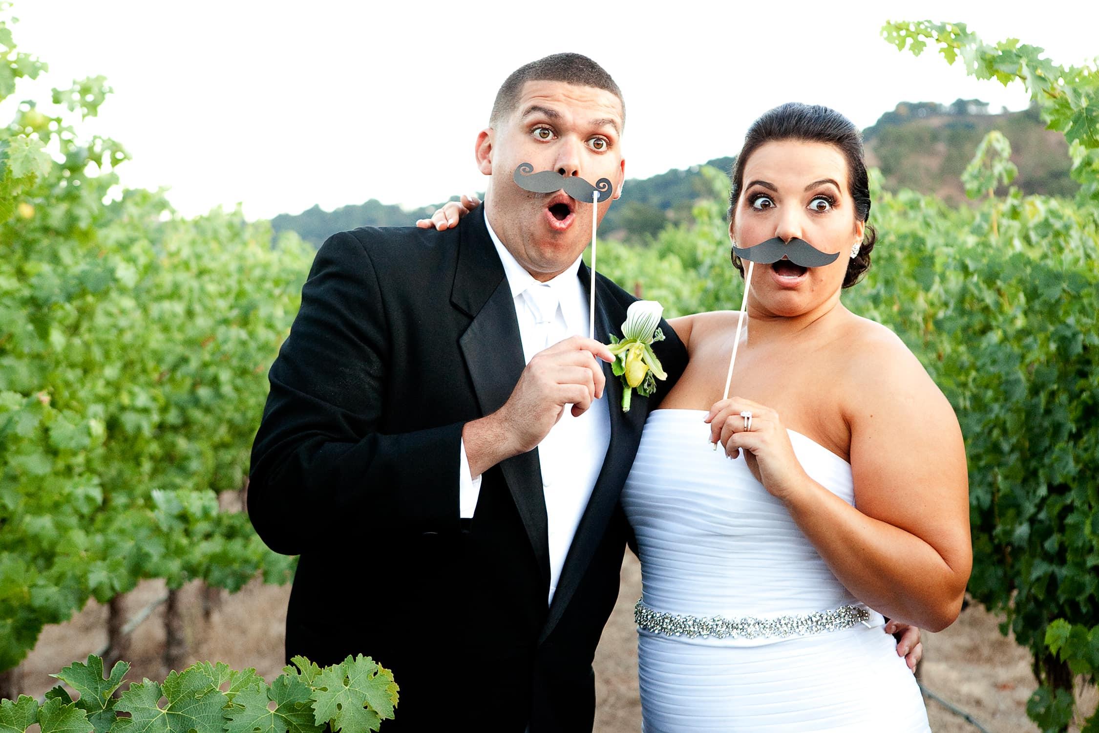 Bride and Groom in Vineyard at clos la chance.