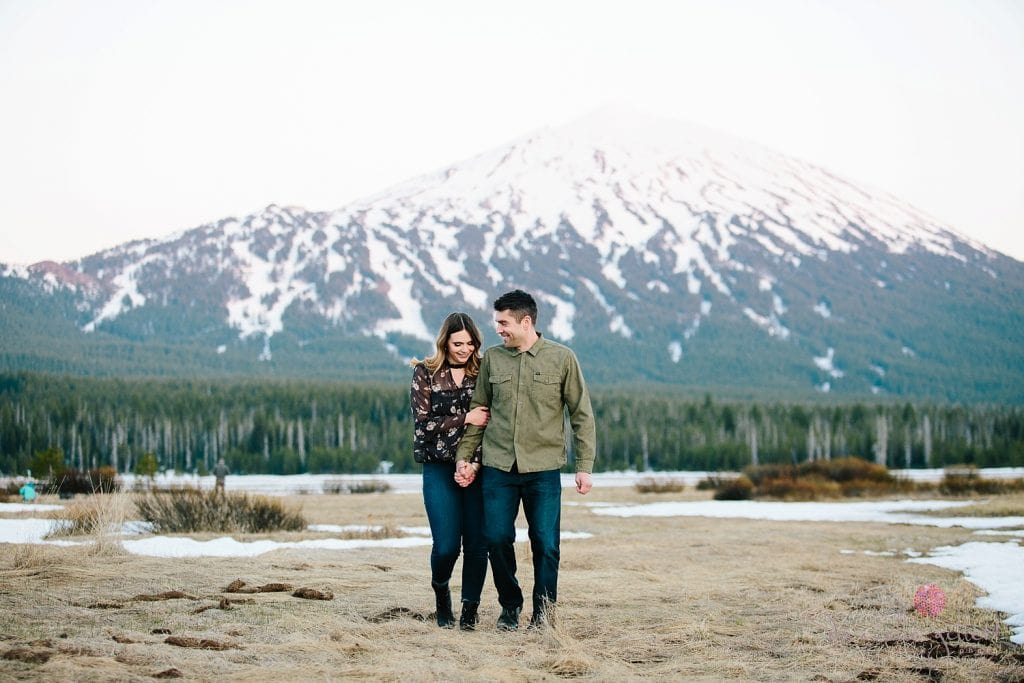 Bend Engagement photo at Mt Bachelor. Bend wedding photographer
