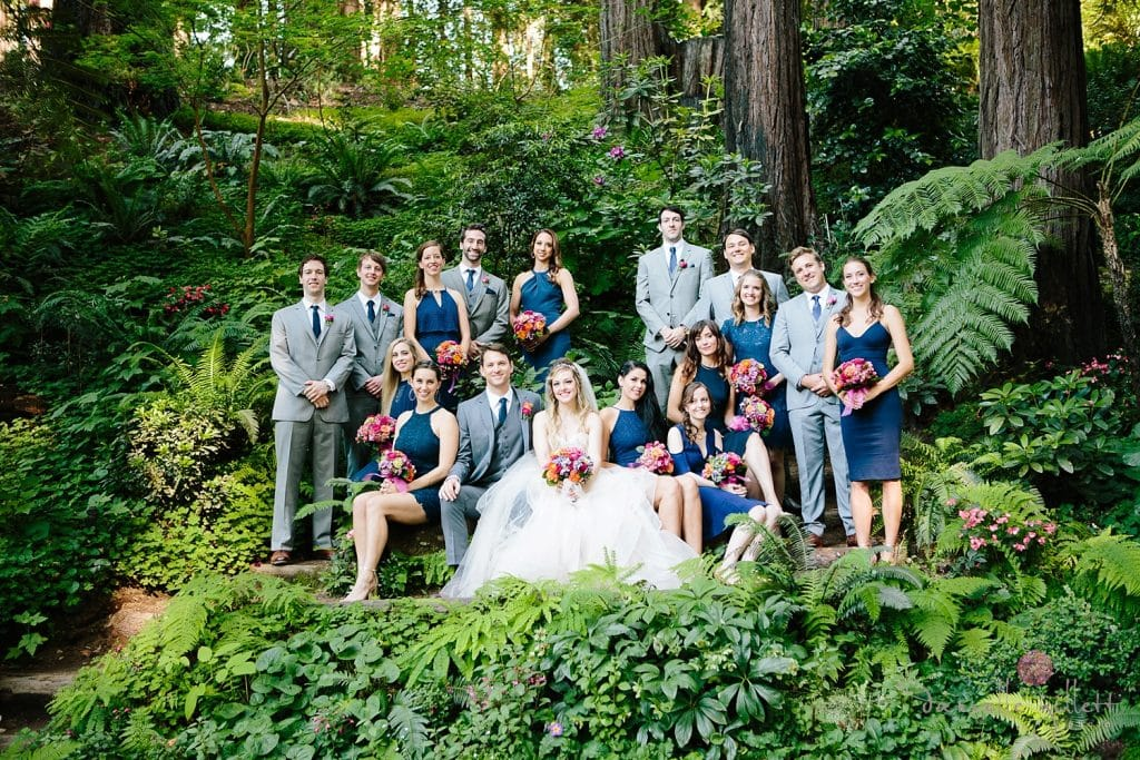 Bridal Party in redwoods at Nestldown Wedding