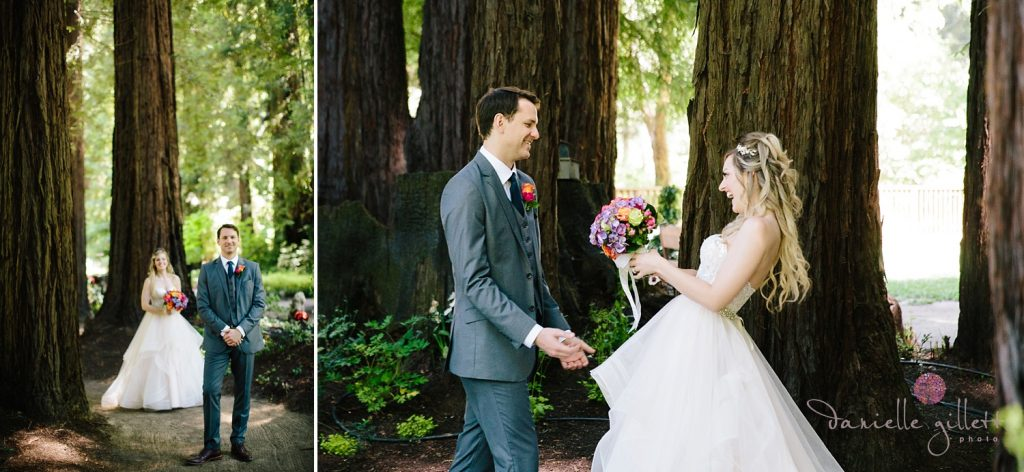 First look Bride and Groom in redwoods at Nestldown Wedding