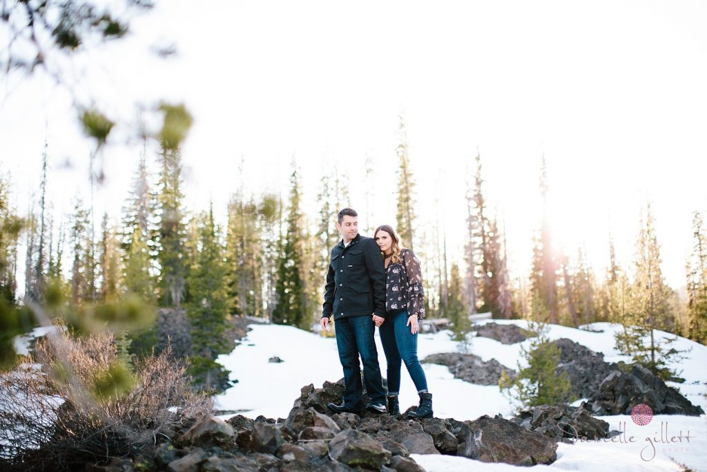 Bend Engagement photo at Elk Lake. Bend wedding photographer