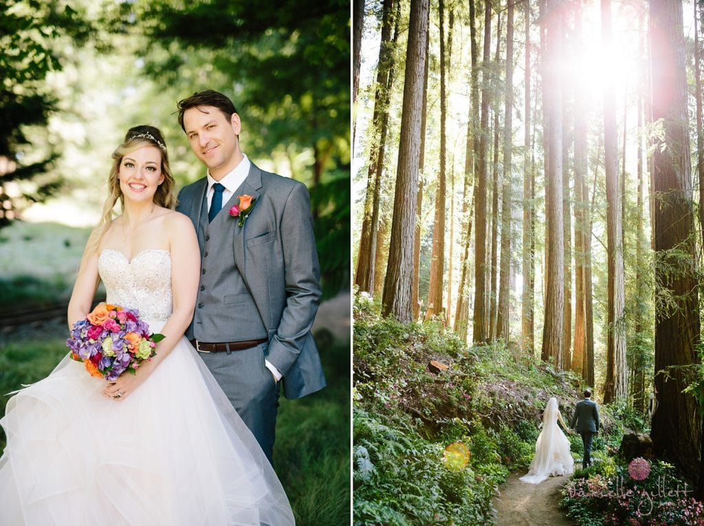 Bride and Groom in redwoods at Nestldown Wedding