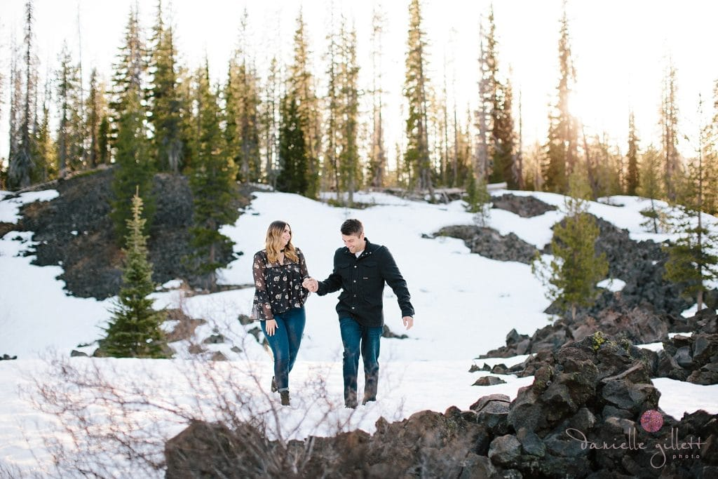 Bend engagement photo at Mt Bachelor. Bend wedding photography