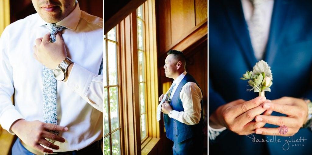 Nestldown Wedding, Groom getting ready