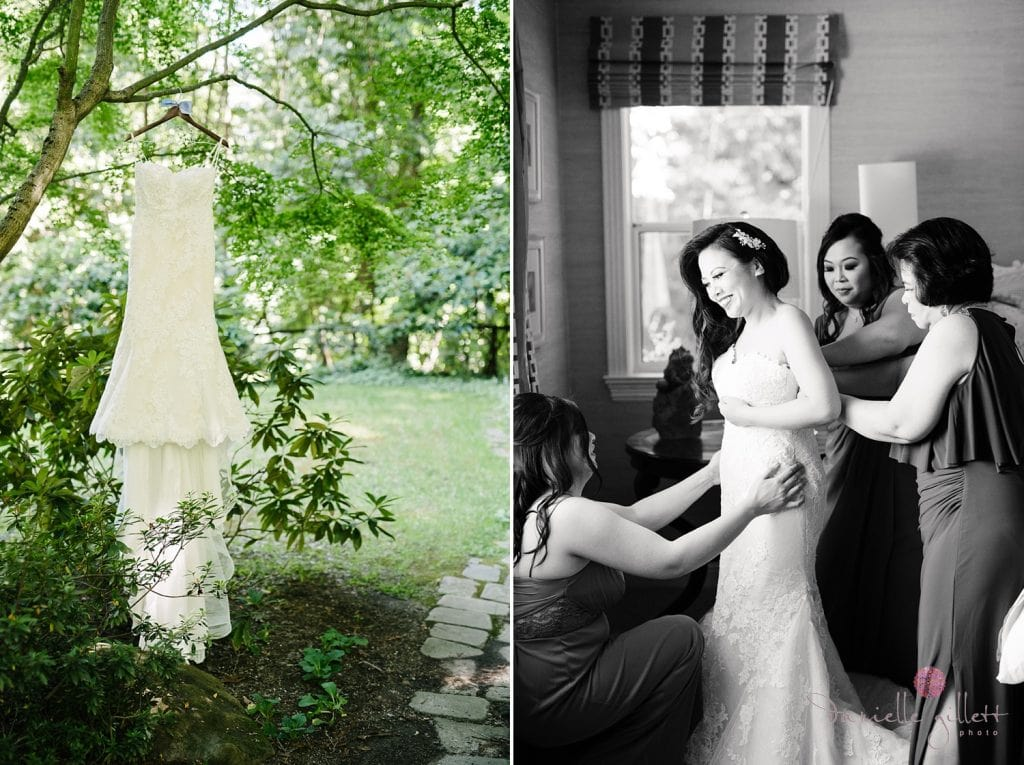 Nestldown Wedding, Bride getting ready