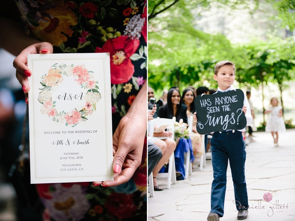 Nestldown Wedding, ring bearer at ceremony