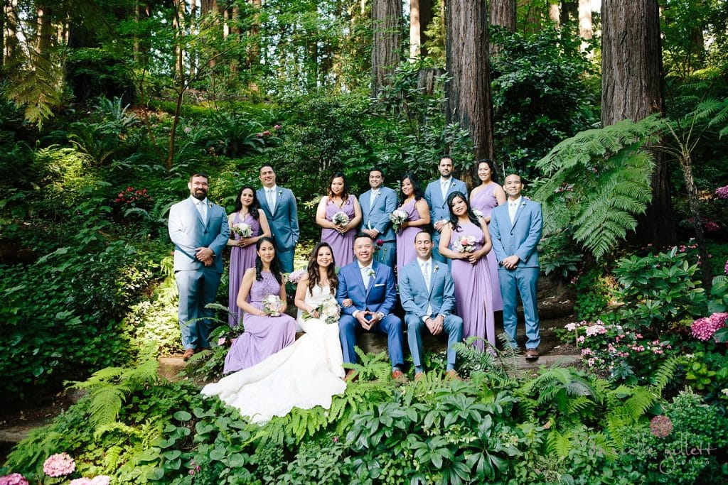 Nestldown Wedding, Bridal party in redwoods atNestldown