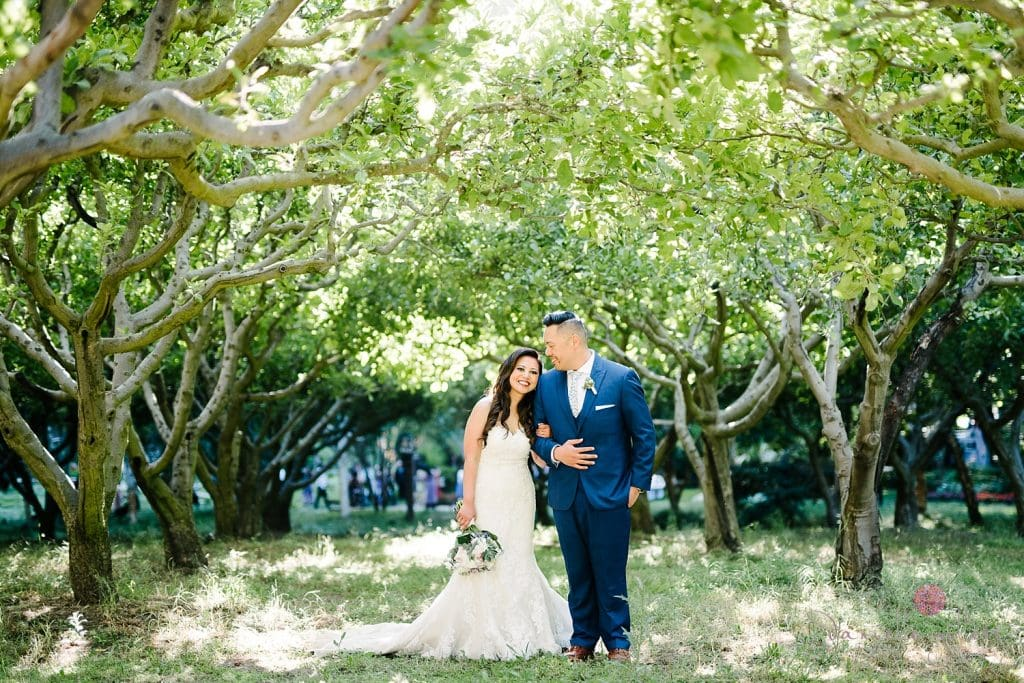 Nestldown Wedding, Bride and groom in orchard at Nestldown