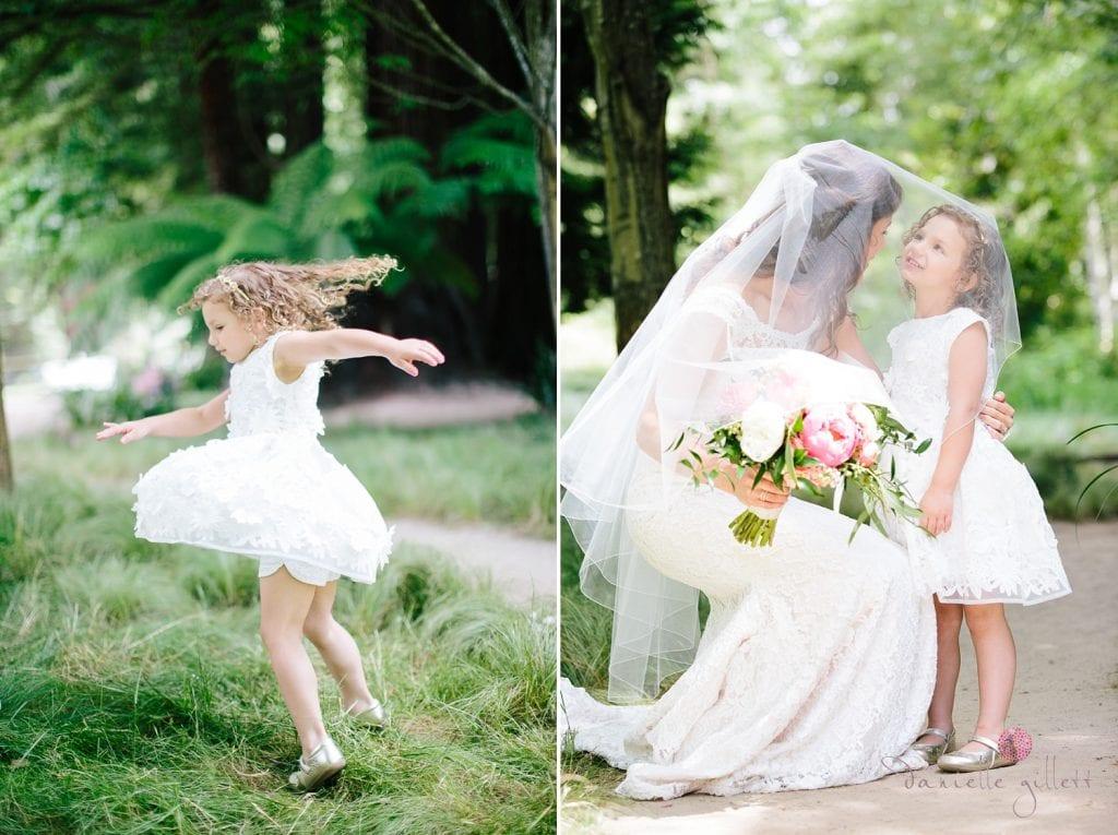 Nestldown Wedding, Bride with flower girl
