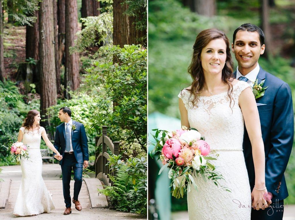 Nestldown Wedding, Bride and Groom in the redwoods at Nestldown