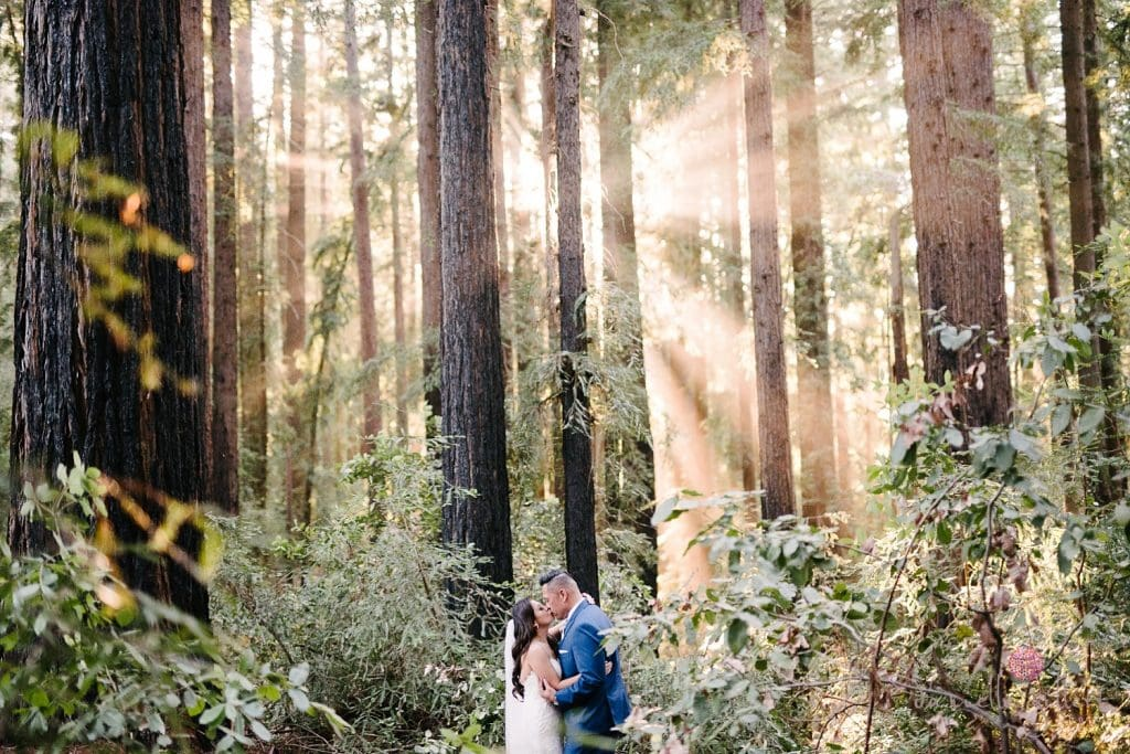 Nestldown Wedding, Bride and groom in redwoods at Nestldown