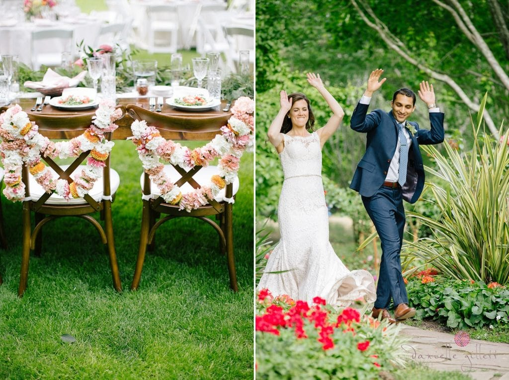 Nestldown Wedding, dinner on the lawn at Nestldown