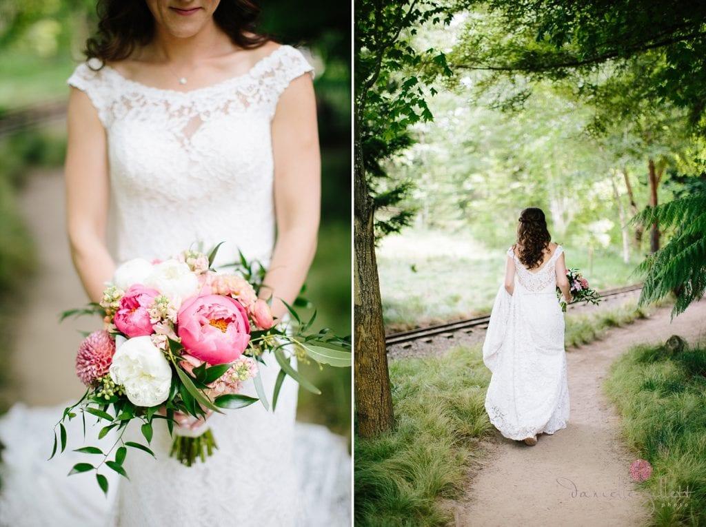 Nestldown Wedding, Bride in Nestldown Gardens