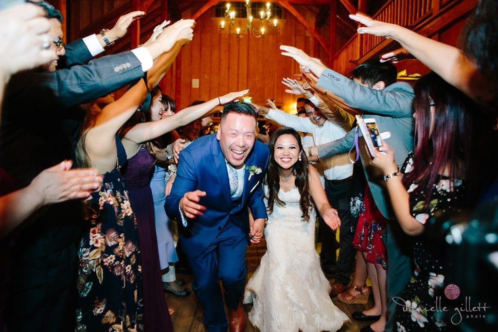 Nestldown Wedding, Grand Exit in the barn at Nestldown