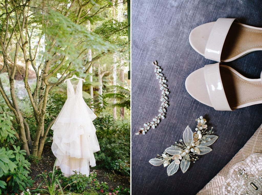 Nestldown Wedding Photography Wedding Gown hanging in a tree