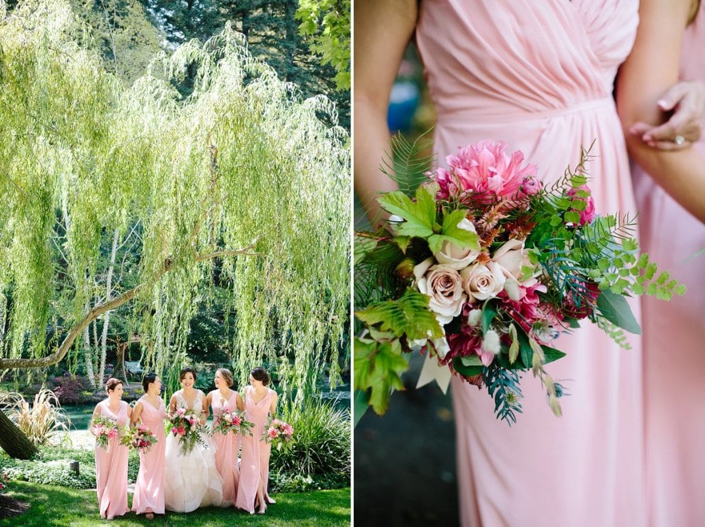 Nestldown Wedding Photography Bridesmaids in Redwoods