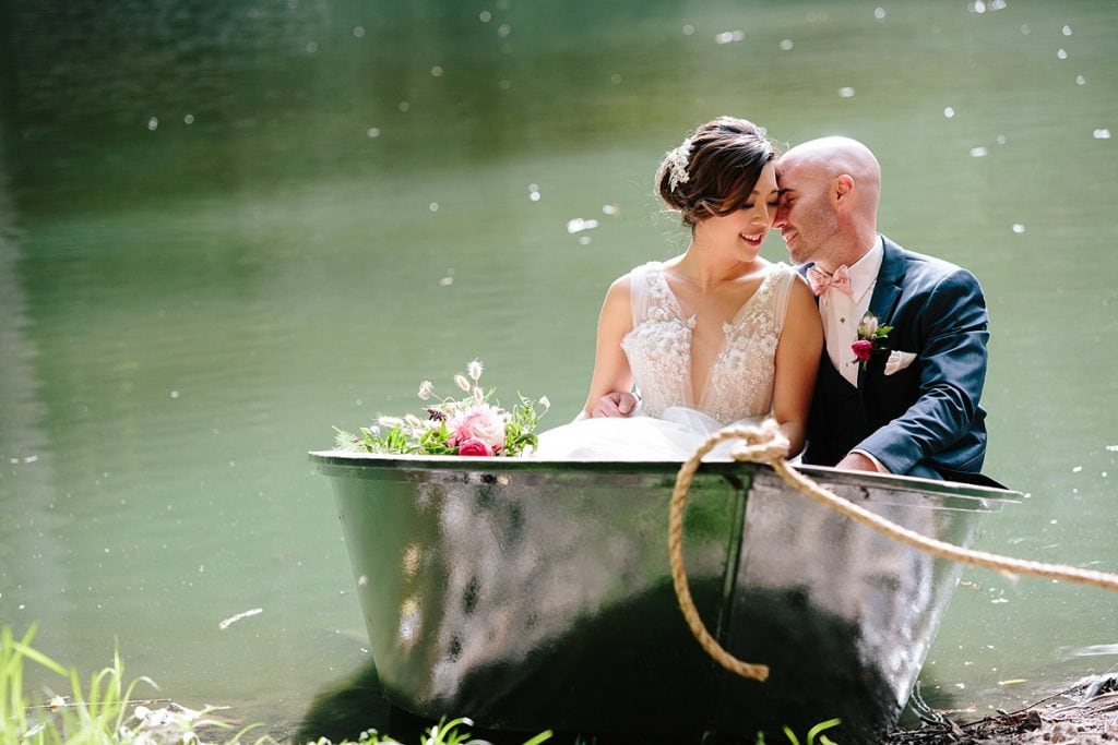 Nestldown Wedding Photography Bride and Groom in Boat