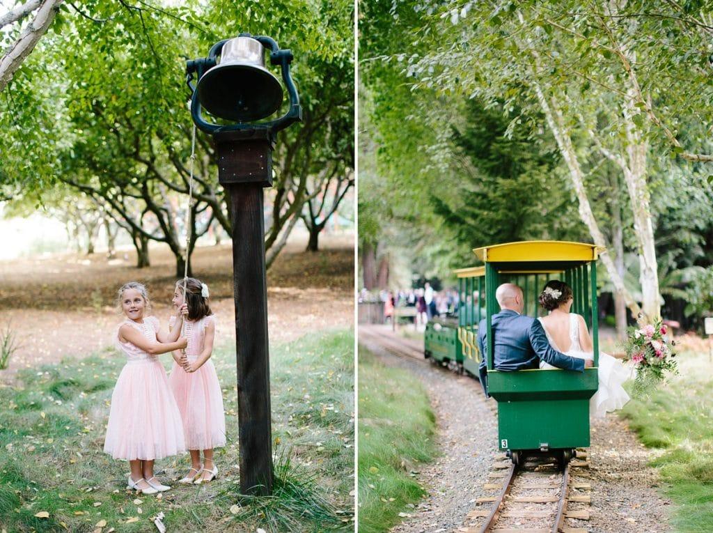 Nestldown Wedding Photography bride and groom on train