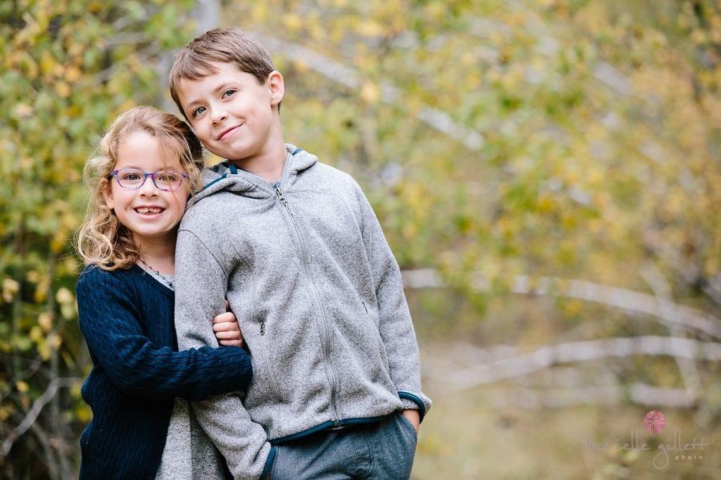 Shevlin Park Family Portraits in Bend Oregon. Fall Family Portraits in an Aspen Grove