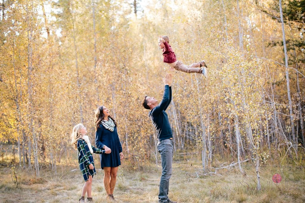 Shevlin Park Family Portraits in Bend Oregon. Fall Family Portraits in an Aspen Grove