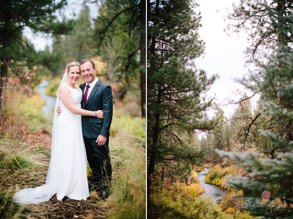 Bend wedding at House on Metolious. Fall Wedding. Bride and Groom