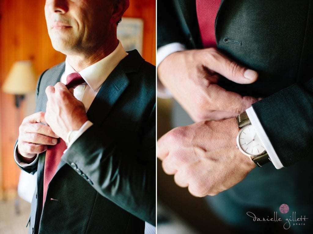Central Oregon wedding at House on Metolious. Fall Wedding. Groom getting ready