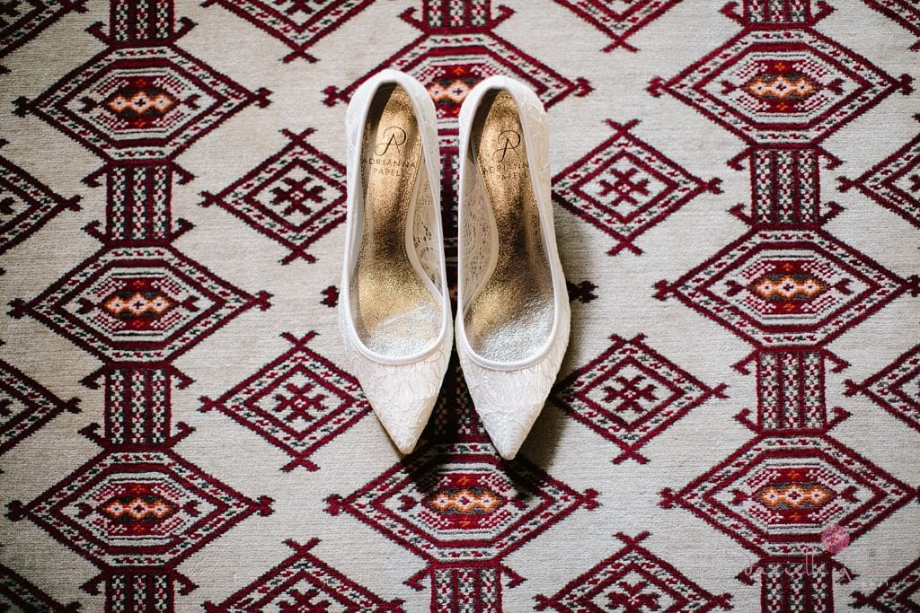 Central Oregon wedding at House on Metolious. Fall Wedding. Shoes on tribal rug