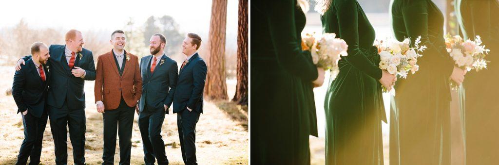 Bend Wedding Photography. Black Butte Ranch Wedding. Navy and Orange Groomsmen. Velvet Bridesmaids Dress