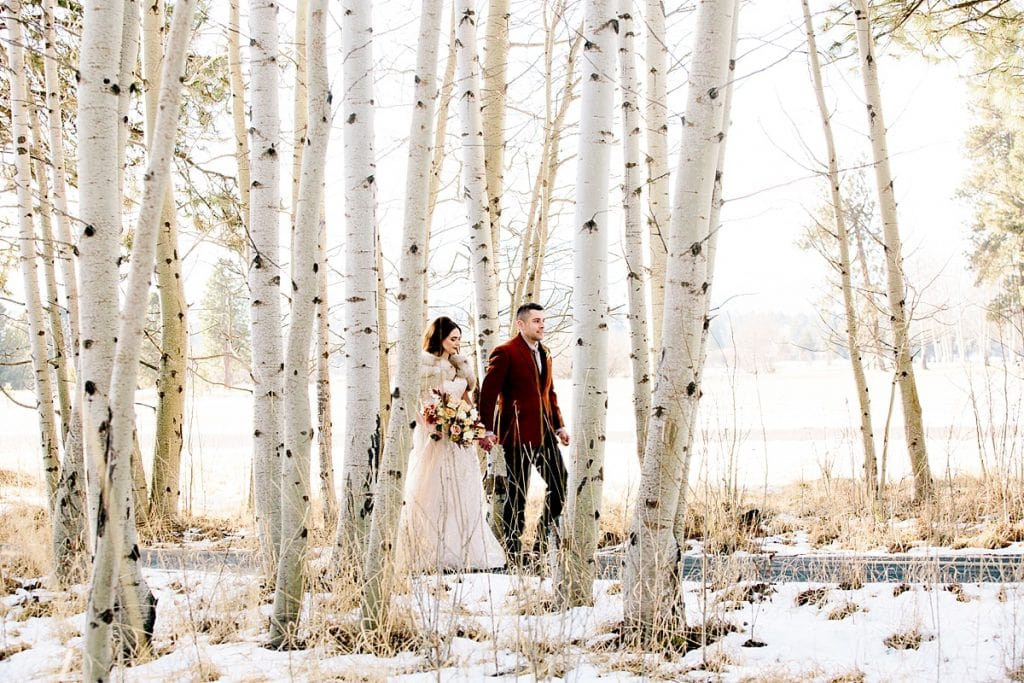 Bend Wedding Photography. Black Butte Ranch Wedding. Bride and Groom. Bend Winter Wedding
