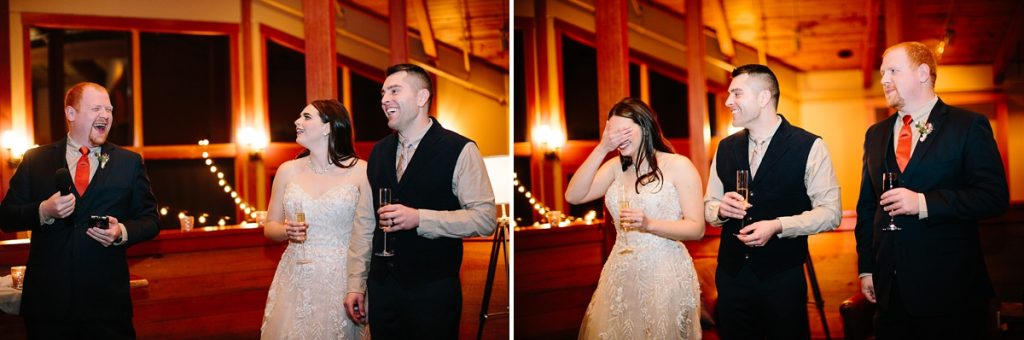 Bend Wedding Photography. Black Butte Ranch Wedding. Bend Winter Wedding. Wedding Toasts