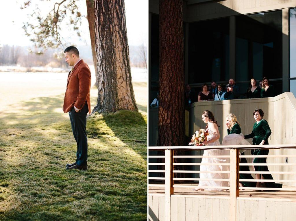 Bend Wedding Photography. Black Butte Ranch Wedding. Bend Winter Wedding. First Look