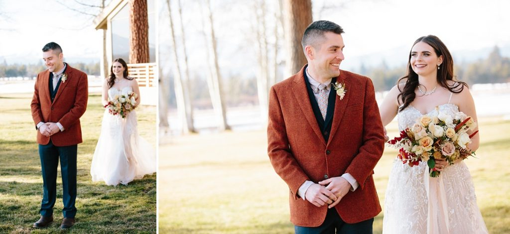 Bend Wedding Photography. Black Butte Ranch Wedding. Bend Winter Wedding. Bride and Groom First Look