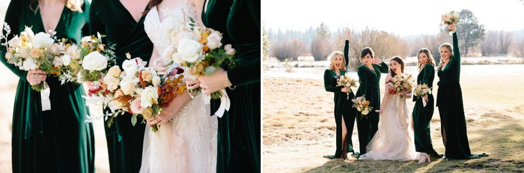 Bend Wedding Photography. Black Butte Ranch Wedding. Velvet Bridesmaids Dress