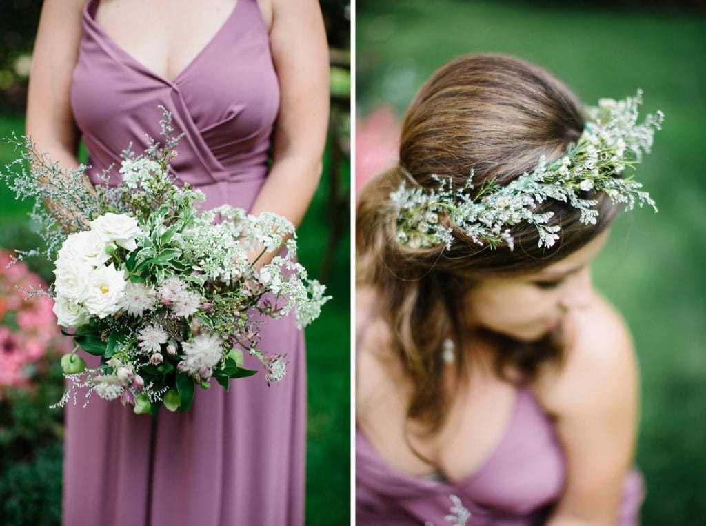 Flower crown and wildflower bouquet for bridesmaid at Nestldown Wedding